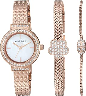 Anne Klein Women's Swarovski Crystal Accented Bangle Watch and Bracelet Set, AK/3432