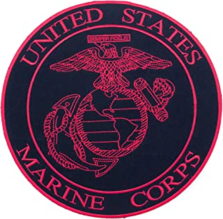 Sturgis-Mid-West United States Marine Corps Red on Black Iron on Center Patch for Biker Vest CP177