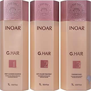 INOAR PROFESSIONAL - G-Hair Keratin Smoothing System with Deep Cleansing Shampoo, Anti-Volume Treatment & Finishing Mask (33.8 fl. oz.)