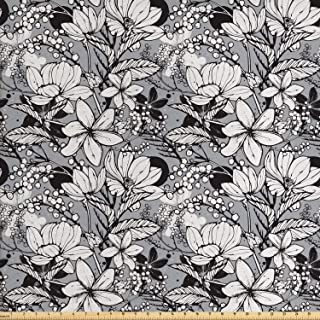 Ambesonne Garden Art Fabric by The Yard, Botanical Pattern with Hand Drawn Flowers Frangipani Mimosa and Lotus, Decorative Fabric for Upholstery and Home Accents, 1 Yard, Grey White
