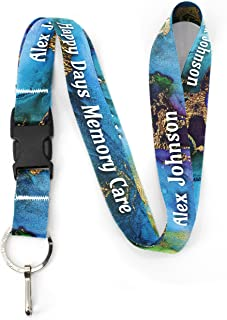 Buttonsmith Lagoon Custom Lanyard - Customize with Your Text - Buckle and Flat Ring - Made in The USA