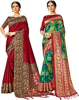 Pack of Two Sarees for Women Mysore Art Silk Printed Indian Wedding Saree   Diwali Gift Sari