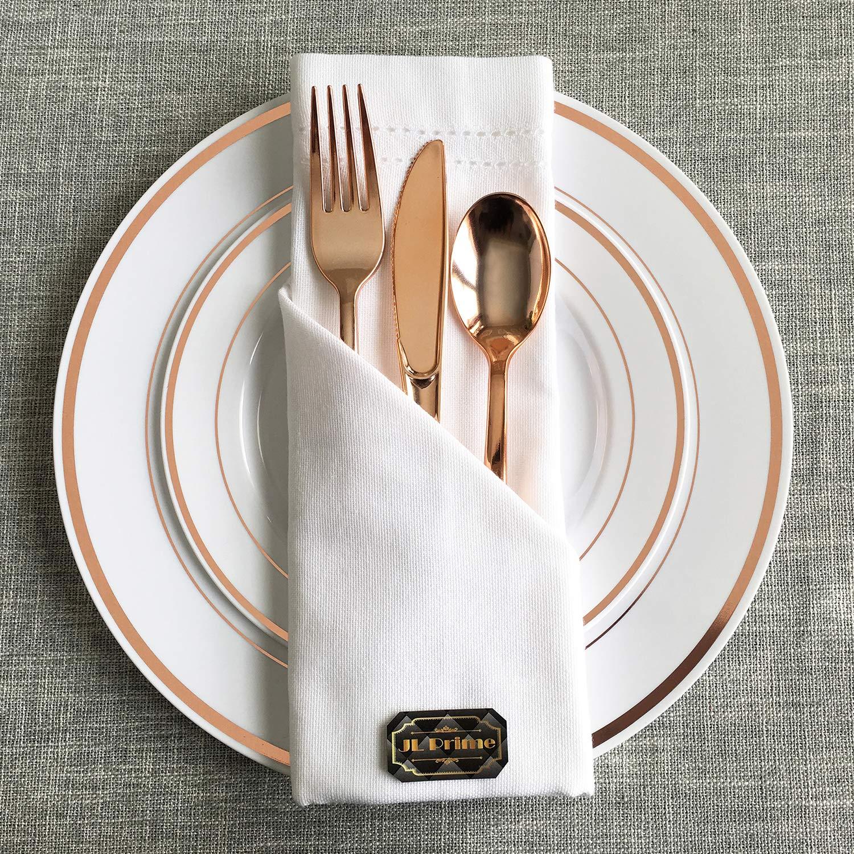 JL Prime 50 Piece Rose Gold Plastic Heavy Duty Disposable Reusable Forks Set