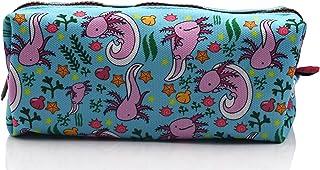 LParkin Axolotl Canvas Pencil Case Pen Bag Pouch Stationary Case Makeup Cosmetic Bag (Blue)