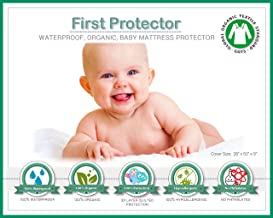 Organic Cotton 100% Waterproof Fitted Crib Protector - Non-Toxic, NO Bamboo Rayon Fiber, Hypoallergenic, Unbleached - Washer/Dryer Friendly (52
