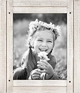 Americanflat 8x10 Aspen White Distressed Wood Frame - Made to Display 8x10 Photos - Ready to Hang - Ready to Stand - Built-in Easel