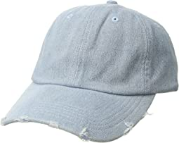 CTH4164 Denim Distressed Brim Baseball Cap