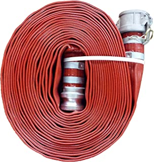 "JGB Enterprises A008-0321-0100 Eagle Red PVC Discharge Hose, 2"" x 100', Aluminum Type C and E Cam Locks, 150 psi Working Pressure, -14 Degree F to 170 Degree F"