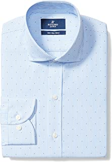 "Buttoned Down Men's Slim Fit Cutaway-Collar Pattern Non-Iron Dress Shirt, Light Blue Stripe Dot, 17.5"" Neck 33"" Sleeve"