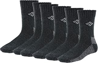 Columbia Full Cushion Poly/Cotton Thermal Crew 6 Pair, W9-11, Charcoal