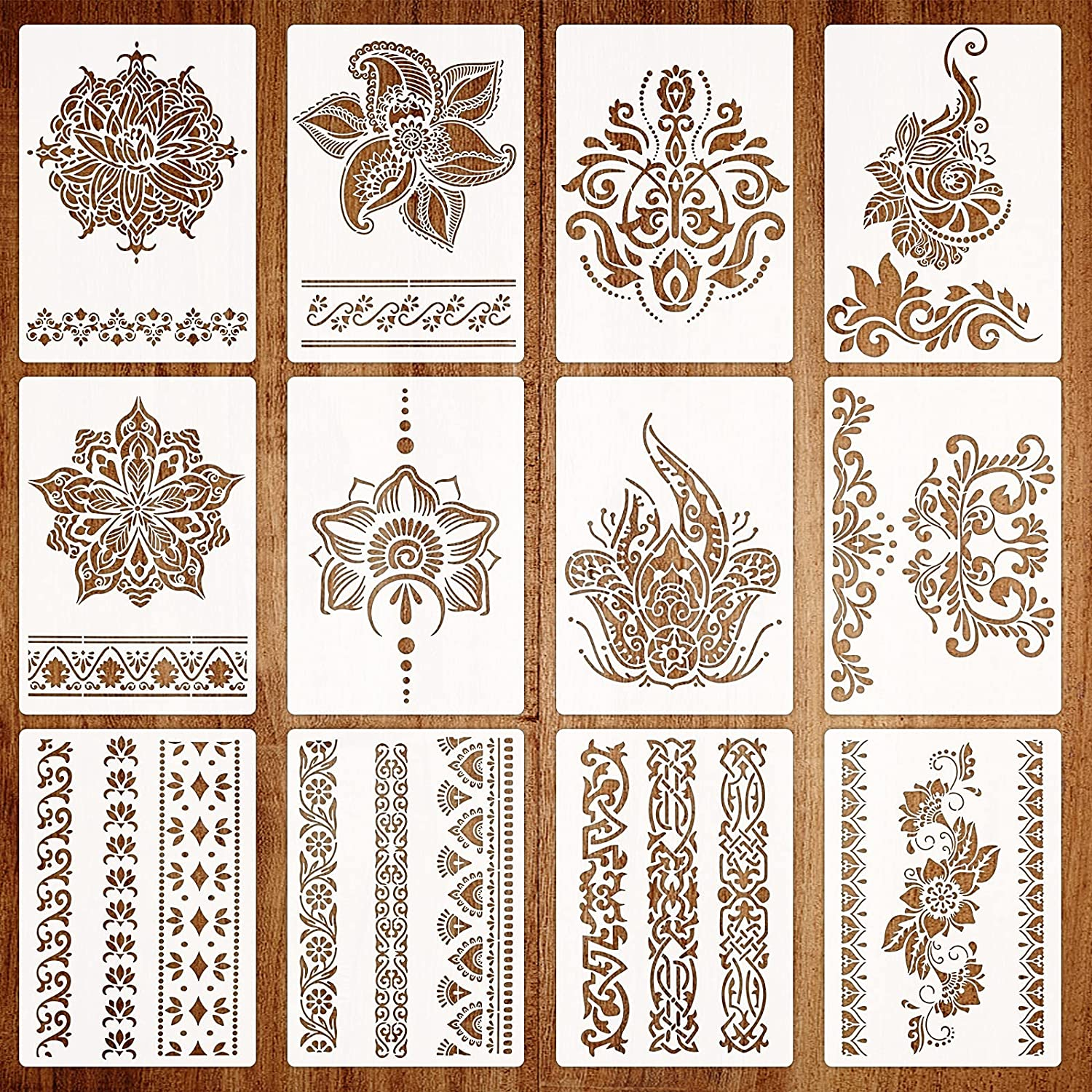 12Pcs Mandala Border Stencils for Painting on Wood, Flower Border Stencils Reusable DIY Craft Stencils for Floor Wall Tile Fabric Furniture Stencils Painting