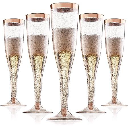 MyGift 9 oz Champagne Flute Ombre Rose Gold Stemware Glasses Set of 4