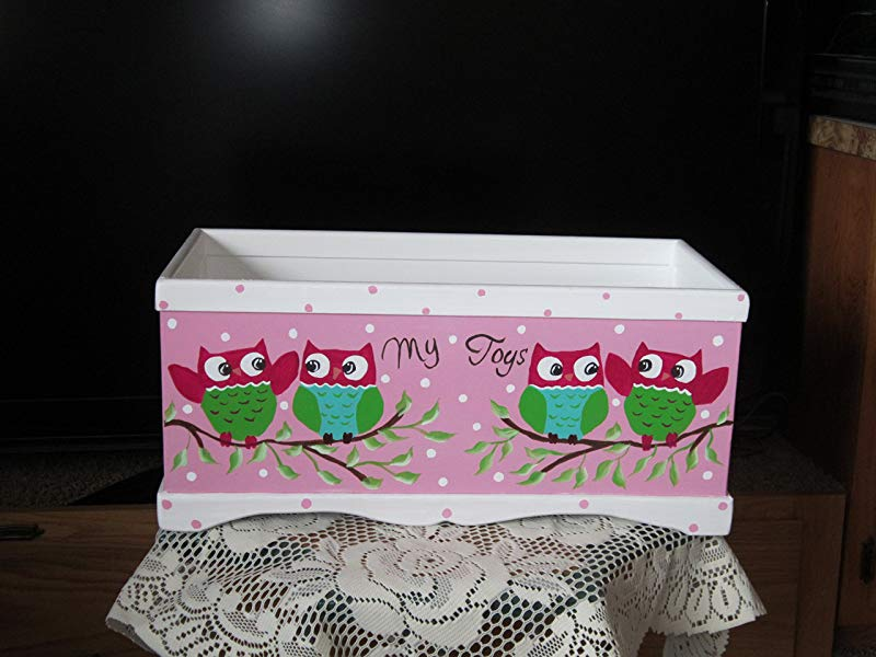 Little Girls Toy Box Handmade And Hand Painted My Toys With Cute Little Owls Painted On The Front