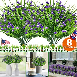 Camlinbo Artificial Flowers 8 Bundles Faux Outdoor UV Resistant Plants Shrubs Boxwood Plastic Leaves Fake Bushes Greenery Window Box Home Patio Yard Indoor Garden Light Office Christmas Decor