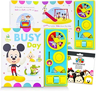 Disney Baby Books Collection for Toddlers Bundle ~ Busy Day Interactive Mickey Mouse Board Book with Stickers Featuring Mi...