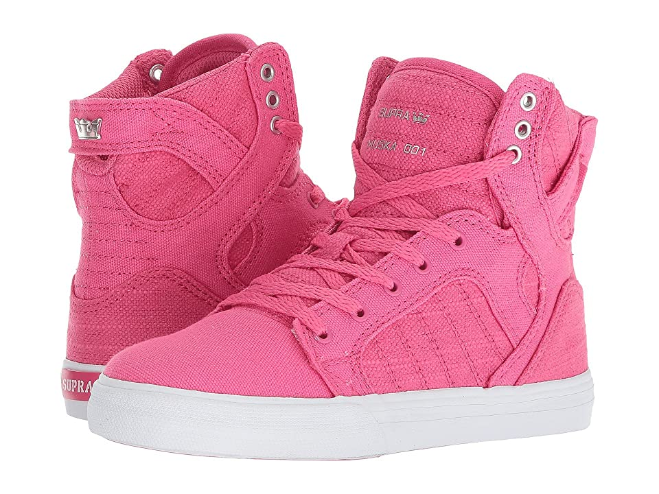 Supra Kids Skytop (Little Kid/Big Kid) (Pink/Silver/White) Kids Shoes