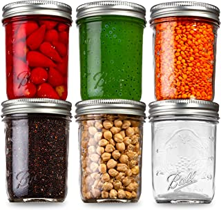 Ball Mason Jars Regular Mouth 8 oz Bundle with Non Slip Jar Opener- Set of 6 Mason Jars - Canning Glass Jars with Lids and...