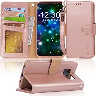 Arae Case Compatible for Samsung Galaxy S8 Plus / S8+, [Wrist Strap] Flip Folio [Kickstand Feature] PU Leather Wallet case with ID&Credit Card Pockets (NOT for Galaxy s8) (Rosegold)