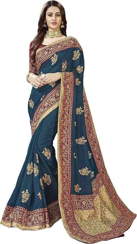 Indian MANOHARI Women's Kota Doria Poly Silk Saree With Unstitched Blouse Piece Saree