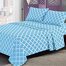 Lux Decor Collection Bed Sheet Set - Brushed Microfiber 1800 Bedding - Wrinkle, Stain and Fade Resistant - Hypoallergenic - 4 Piece (Full, Quatrefoil Aqua Blue)