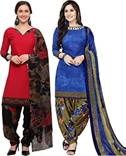 Rajnandini Women's Dark Pink and Blue Crepe Printed Unstitched Salwar Suit Material (Combo Of 2) (Free Size)