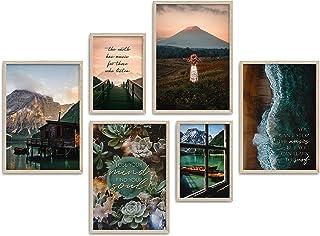 ARTFAVES Zestaw plakatów – Beautiful Earth   dekoracja naturalna niebieska, zielono-brązowa   6 nowoczesnych obrazów ścien...