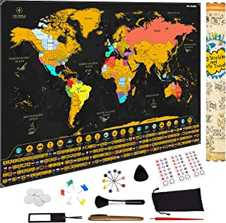 Fox Ramble Scratch off World Map - Enjoy, Track and Share Your Adventures - Large Scratch Travel Poster 17x24. Best Idea for Travelers