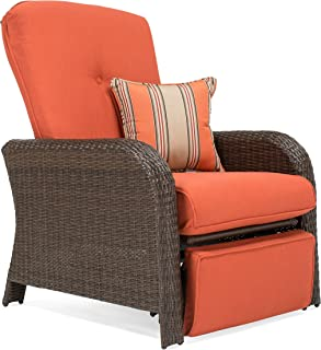 La-Z-Boy Outdoor Sawyer Resin Wicker Patio Furniture Recliner (Grenadine Orange) with All Weather Sunbrella Cushions