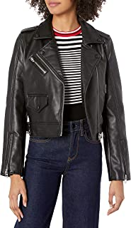 Blank NYC Women's Vegan Leather Moto Jacket, Kiss and Tell SM