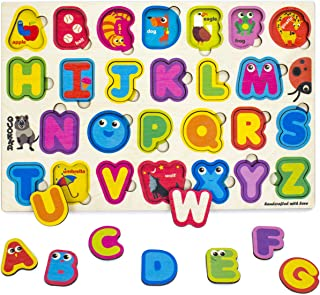 Wooden ABC Alphabet Letters Puzzles Games for Toddlers 2 3 4 5 Years Old, Wood Toddlers Learning Jigsaw Puzzles for Kids Ages 4-8, Preschool Educational Kids Learning Toys for Boys and Girls
