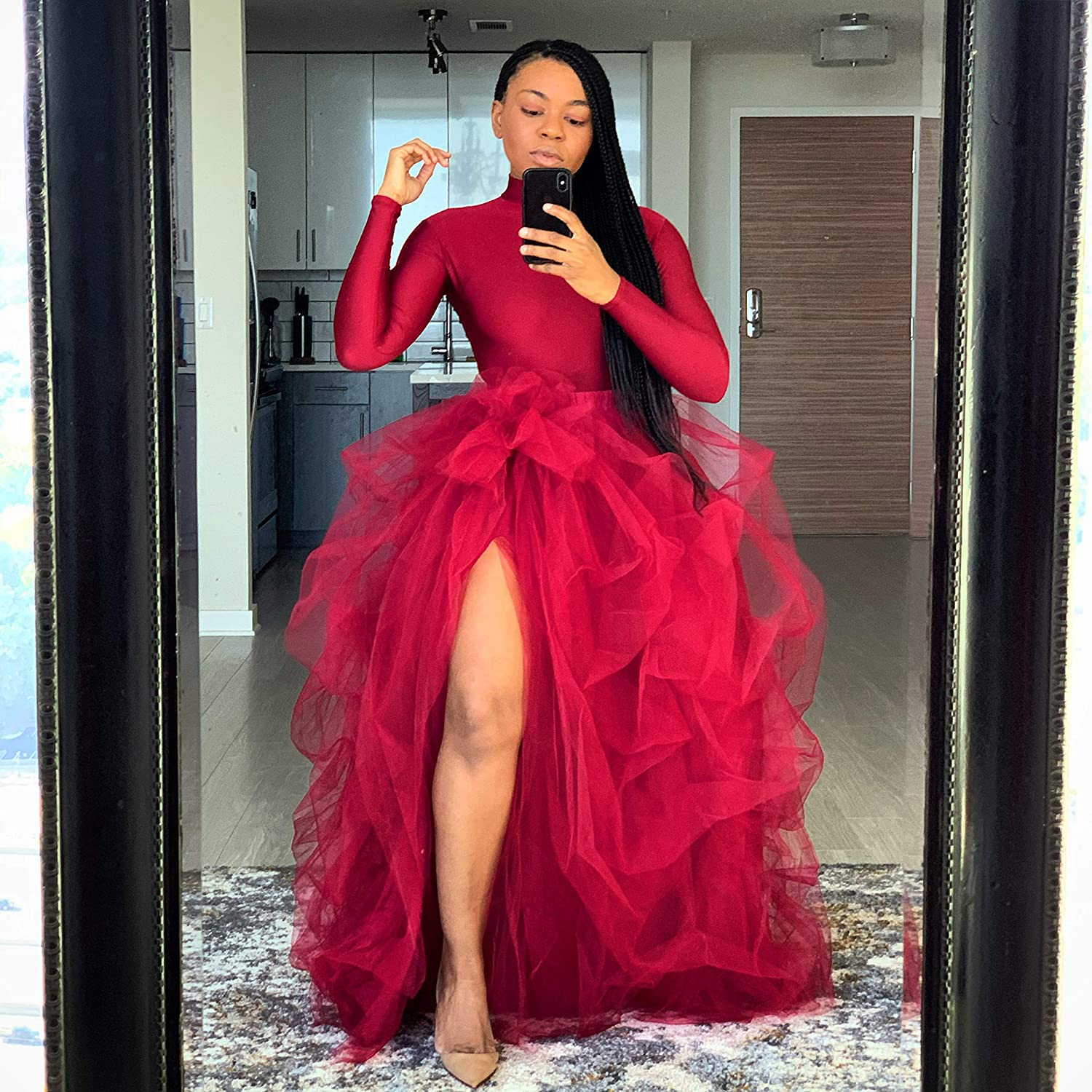 Women's Long Maxi Tulle Skirt Floor Length Layered Wedding Night Out Party A-Line Puffy Skirt