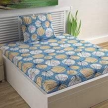 Divine Casa Sense Cotton 144 TC Single Bedsheet with Pillow Cover - Floral, Blue