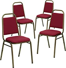 Flash Furniture 4 Pk. HERCULES Series Trapezoidal Back Stacking Banquet Chair in Burgundy Fabric - Gold Vein Frame