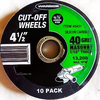 Pack of 10 4-1//2 x 1//8 x 7//8 A24TBF Aluminum Oxide Reinforced Cut-Off Wheel,
