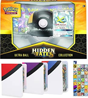 Totem World Hidden Fates Poke Ball Collection Box: Ultra Ball with 3 Totem Mini Binder Collectors Album for Pokemon Cards Tag Team GX Rare Holo Common or Uncommon TCG