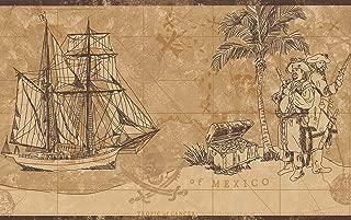 Vintage Pirates Map Chest of Gold Frigate Sail Ship Nautical Beige Brown Wallpaper Border Retro Design, Roll 15' x 9''