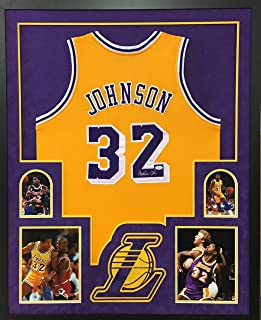 26d3a55cc Magic Johnson Los Angeles Lakers Autograph Signed Custom Framed Jersey Sude  Matted Gold JSA Witnessed Certified