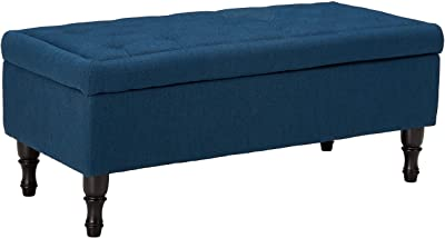 Christopher Knight Home Chantelle Fabric Storage Ottoman, Navy Blue