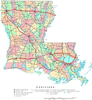 Home Comforts Large Detailed Administrative map of Louisiana State with Roads, Highways and Cities Vivid Imagery Laminated Poster Print 24 x 36