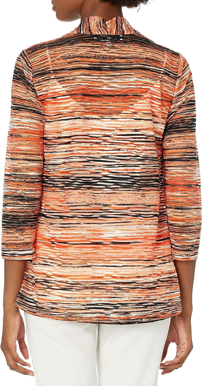 Kasper Women's Sunset Waves Printed Knit Jacquard Hi-lo Shrug