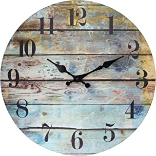 Stonebriar Vintage Farmhouse Wooden 14 Inch Round Hanging Clock, Battery Operated, Rustic..