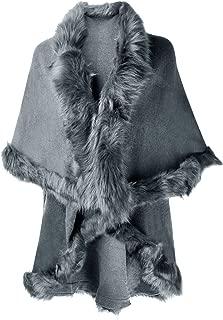 grey fur trim cardigan