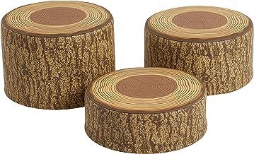 ECR4Kids SoftZone Tree Stump Stool Set - Round Foam Stools for Kids with Decorative Log Design (3 Piece Set)