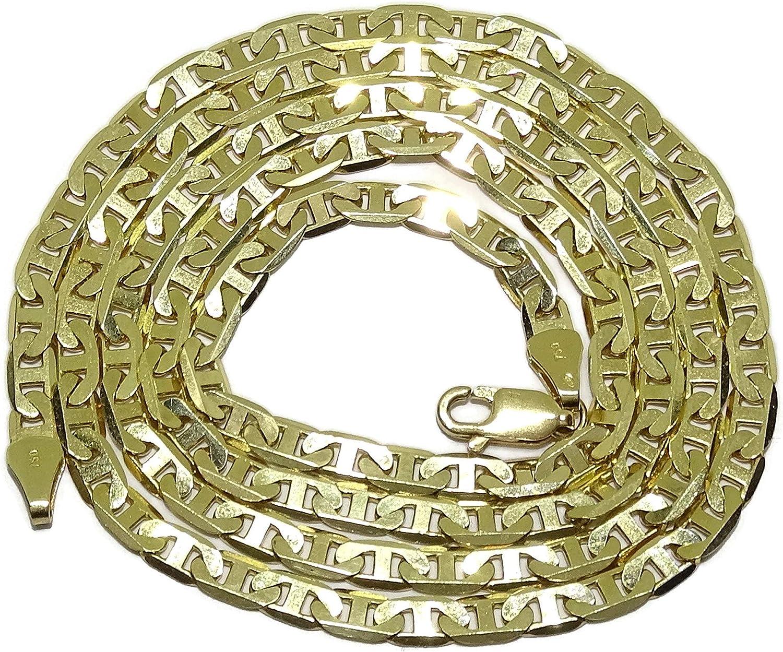 Never Say Never Cadena de Oro Amarillo de 18k de Oro Macizo para Hombre, Modelo bilbaina con Barras de 4mm de Ancho y 60cm de Larga. 17.50gr de Oro de 18k.