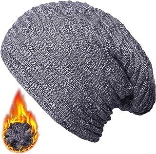 7685b580a11fa YSense Mens Winter Warm Slouchy Long Oversized Beanie Baggy Hat Fleece  Lined Knit Skull Cap