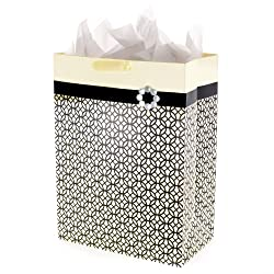 """Hallmark 20"""" Oversized Gift Bag with Tissue Paper (Black, Ivory and Gold, Endless Circles) for Weddi"""