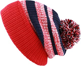 02d7a8001fc47 THE HAT DEPOT Winter Striped Cuffed Pom Pom Knit Soft Thick Beanie Skully  Hat