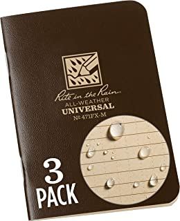 "Rite in the Rain Weatherproof Mini Stapled Notebook, 3.25"" x 4.625"", Brown Cover, Universal Pattern, 3 Pack (No. 471FX-M)"