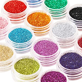 16 Colors Glitter Nail Sequins Powder Cosmetic Festival Chunky Body Manicure Craft Glitter for Nail Hair Face with 6 Small...