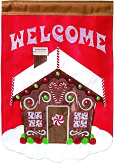 Magnolia Garden Gingerbread House Welcome Cozy Red 13 x 18 Small Double Applique Outdoor Holiday House Flag